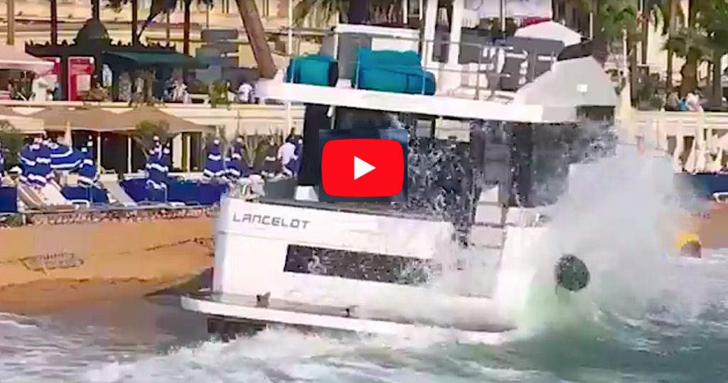 Cannes Yachting Festival, yate se embarranca en la playa de la Croisette: el video