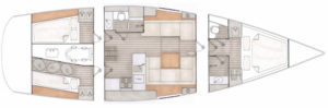 Contest 42CS layout 2 cabins 1 storage and bed