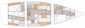 Contest 42CS layout 2 cabins 1 storage and toilet
